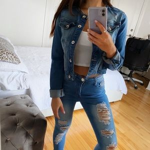 JEANS JACKET SMALL BLUE AND GREY